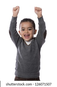 Happy Child with Hands Up Isolated on White Background