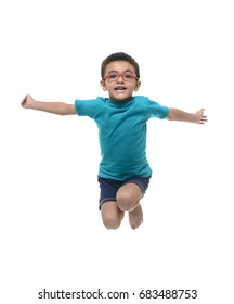 Happy Child Jumping in The Air Isolated on White