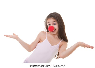 happy child or kid with red clown nose
