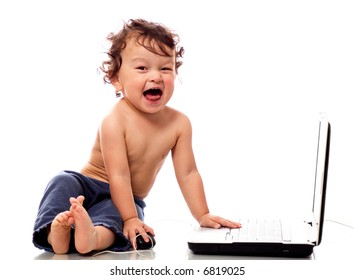 Happy child with notebook,isolated on a white background.
