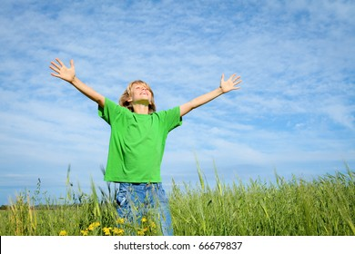 happy child outdoors in summer