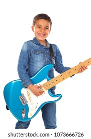 Happy child playing electric blue guitar isolated on a white background