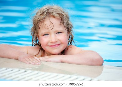 Happy child in pool