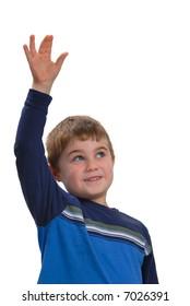 Happy child raising his hand, isolated on white