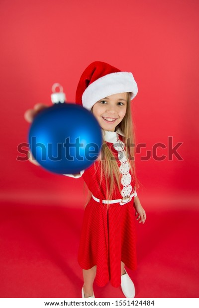 Happy Child Red Costume Hold Christmas Stock Photo Edit Now 1551424484