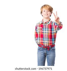 Happy child victory gesture