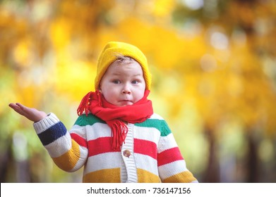 Happy child walking in autumn park. Healthy smiling boy with red scarf on neck. Colorful and bright nature. Shocked and surprised boy. Cheerful smiling little boy opens his mouth in surprise.