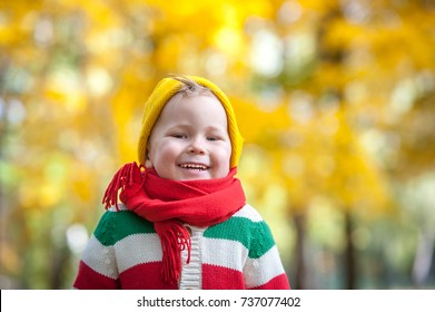 Happy child walking in autumn park. portrait of cute smiling boy Colorful and bright nature. Family outdoors. Boy with a red warm knitted scarf on his neck. autumn outdoor