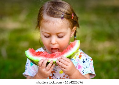happy child with watermelon on nature in the park