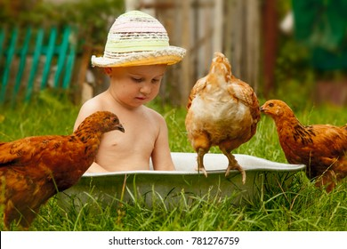 Happy childhood, child development in harmony with nature concept. Beautiful little child girl bathing outdoors and having fun with chickens.