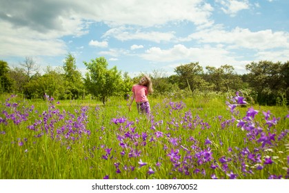 Happy childhood - cute smiling little girl playing in a green summer meadow