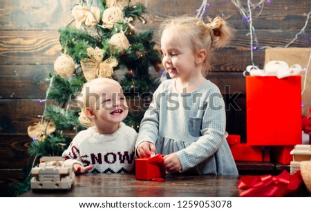 A Christmas Story Kid Now.Happy Children Babies Children Gift Christmas Stock Photo