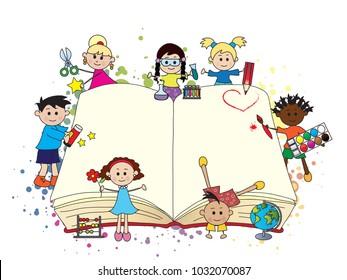 happy children with big open book