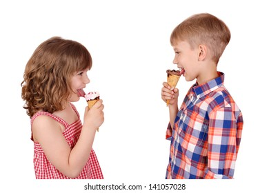 happy children eating ice cream