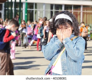 Happy children in front of the school, outdoor, summer to fall