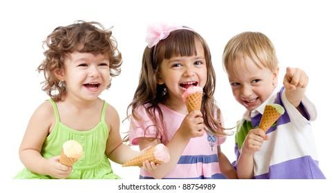 happy children group with ice cream in studio isolated