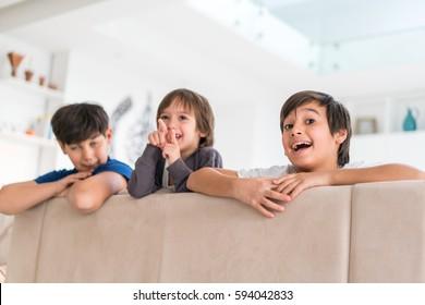 Happy children at home
