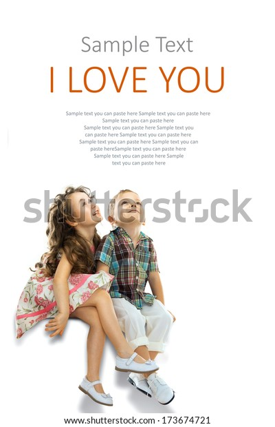Happy children looking up. People, happiness concept. Isolated on white background