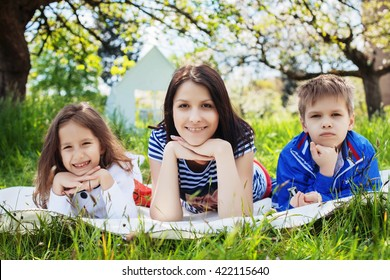 happy children with mother