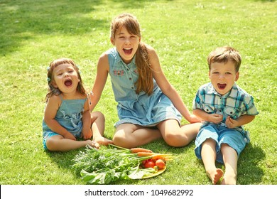 happy children outdoors in the summer. brother and sister eating vegetables