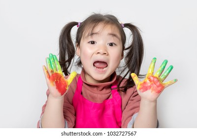 Happy children are painted with oil