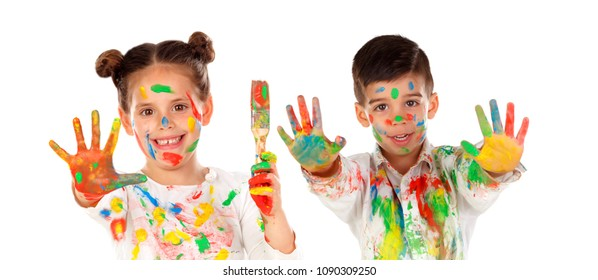 Happy children painting isolated on a white bacground