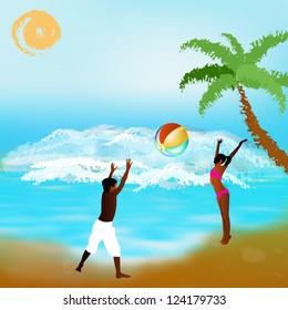 Happy children play on exotic sea exotic beach