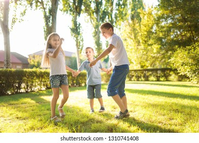 happy children play on the lawn