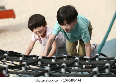 Happy children play outside