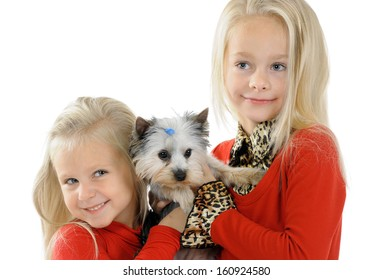 Happy children playing with dog