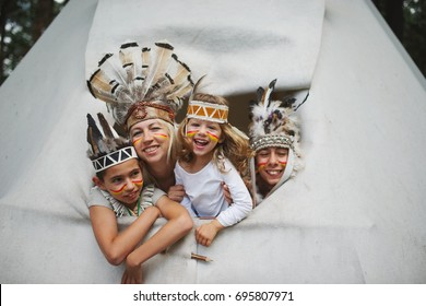 happy children playing native american