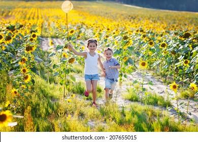 Happy children playing on sunflower field