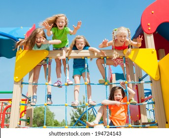 Happy children playing outdoors