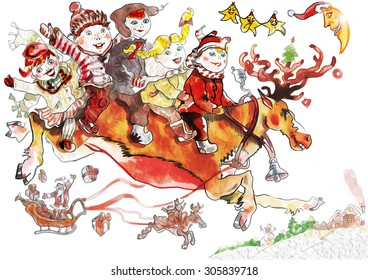 Happy children are riding a deer in the sky. It is christmas. The kids are happy. The stars and the moon are shining and smiling. The santa-claus is flying in his sledge. He throws presents.