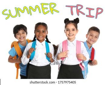Happy children in school uniform on white background. Summer trip