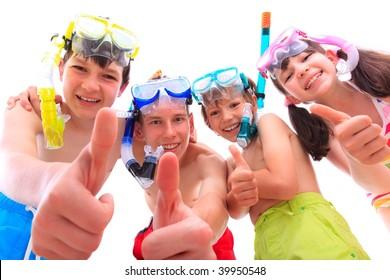 Happy children in snorkels