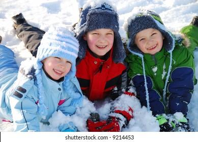 Happy children in snow