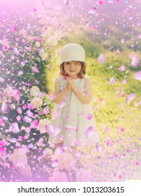 Happy children in suny day. Child have fun with flowers