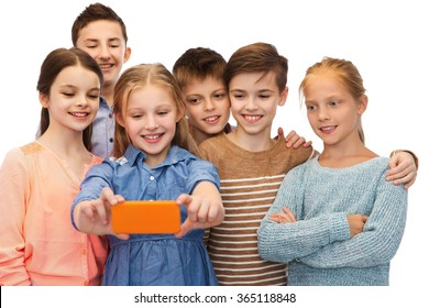 happy children talking selfie by smartphone