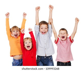 Happy children with their hands up isolated on white. Kids