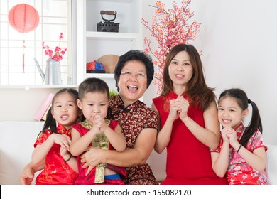 Happy chinese new year. Happy Asian family reunion at home.