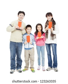 happy chinese new year. happy chinese family holding red envelope for lucky