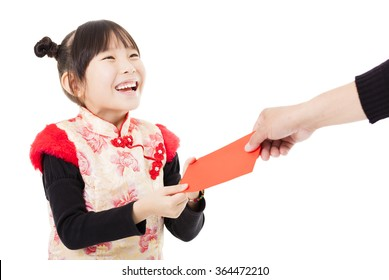 happy chinese new year.little girl received red envelope