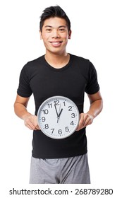 happy chinese sport man with clock