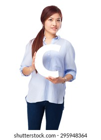 happy chinese woman with c letter