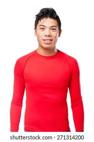 happy chinese-sport-man standing