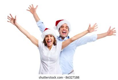 Happy christmas couple. Isolated over white background.