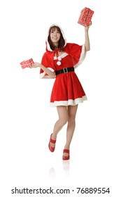 Happy Christmas girl, full length portrait isolated on white background.