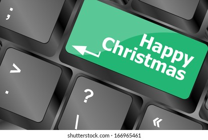 happy christmas message, keyboard enter key button