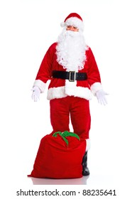 Happy Christmas Santa Claus with bag. Isolated on white background.